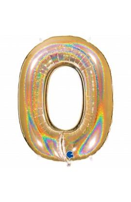 "Cyfra 0 - balon holograficzny 40"""