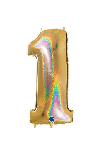 "Cyfra 1 - balon holograficzny 40"""