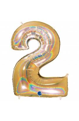 "Cyfra 2 - balon holograficzny 40"""