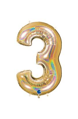 "Cyfra 3 - balon holograficzny 40"""