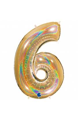 "Cyfra 6 - balon holograficzny 40"""