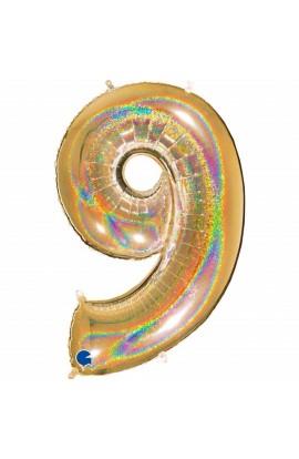 "Cyfra 9 - balon holograficzny 40"""