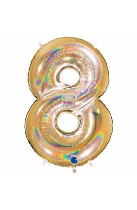 "Cyfra 8 - balon holograficzny 40"""