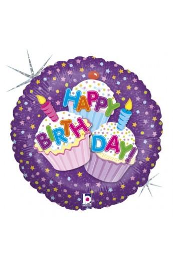 """Balon urodzinowy 18"""" 45 cm HAPPY BIRTHDAY CUPCAKE"""