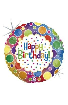 "Balon urodzinowy 18"" 45 cm RAINBOW DOTS BIRTHDAY"