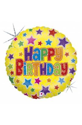 """Balon urodzinowy 18"""" 45 cm BOLD STARS BIRTHDAY"""