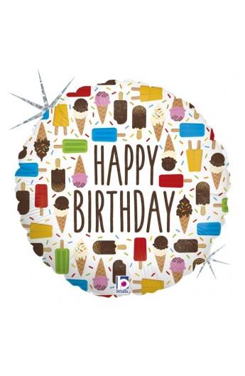 """Balon urodzinowy 18"""" 45 cm BIRTHDAY ICE CREAM"""