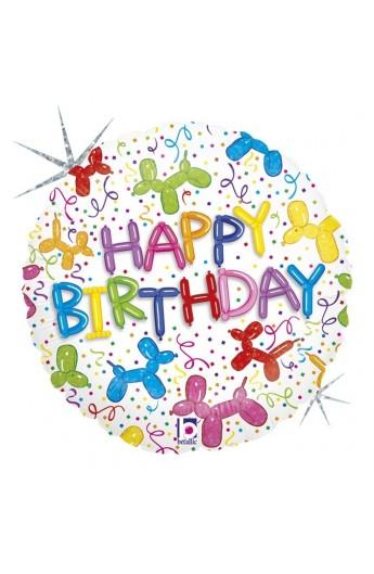 "Balon urodzinowy 18"" 45 cm BALLONS DOG BIRTHDAY"