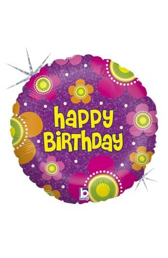 """Balon urodzinowy 18"""" 45 cm BIRTHDAY FLOWERS"""