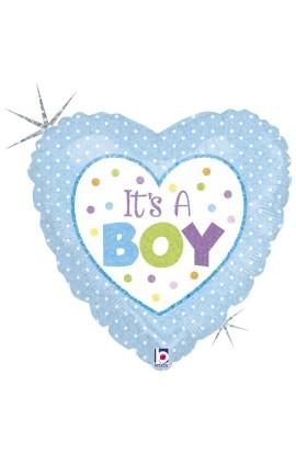 """Balon foliowy 18"""" It's a boy w kropeczki"""