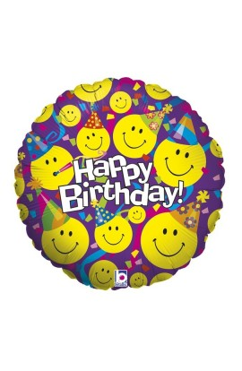 """Balon urodzinowy 18"""" Uśmiechnięte buźki"""
