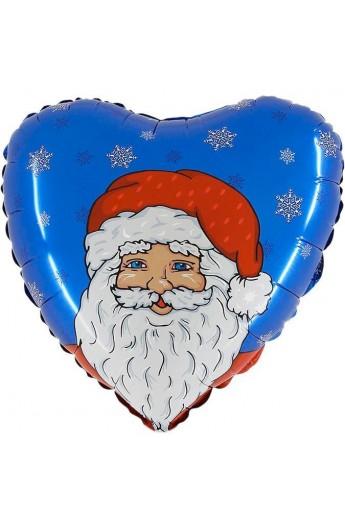 """Balon foliowy 18"""" Mikołaj - niebieskie tło"""