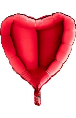 Balon jednokolorowy serce czerwony