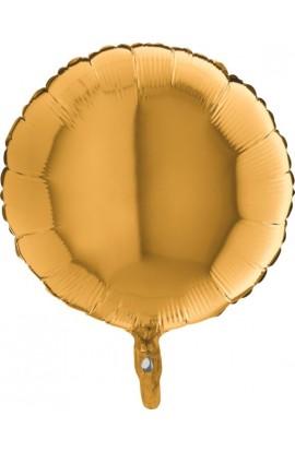 Balon jednokolorowy okrągły złoty