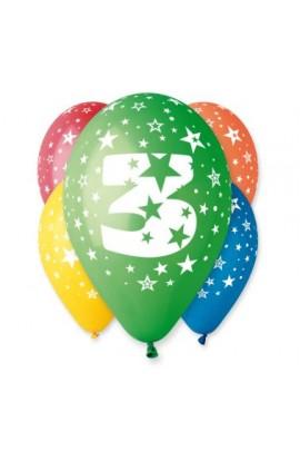 """Balony gumowe 12"""" z cyfrą 3"""