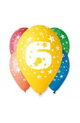 """Balony gumowe 12"""" z cyfrą 6"""