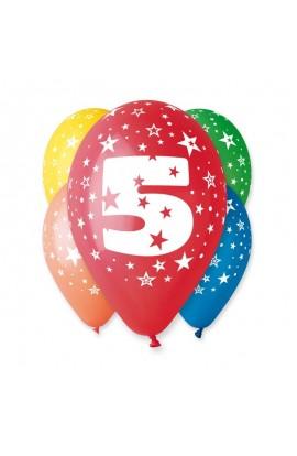 """Balony gumowe 12"""" z cyfrą 5"""