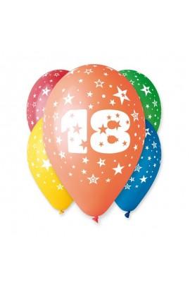 """Balony gumowe 12"""" z cyfrą 18"""