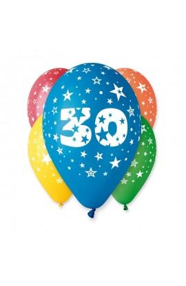 """Balony gumowe 12"""" z cyfrą 30"""