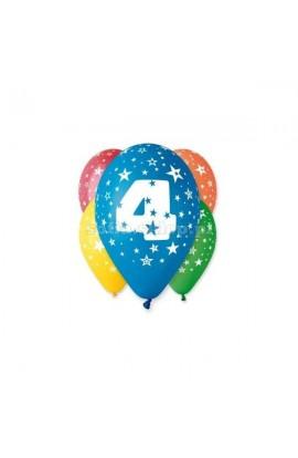"""Balony gumowe 12"""" z cyfrą 4"""