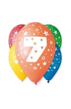 """Balony gumowe 12"""" z cyfrą 7"""