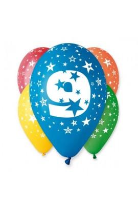 """Balony gumowe 12"""" z cyfrą 9"""