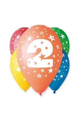 """Balony gumowe 12"""" z cyfrą 2"""