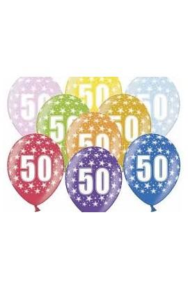 """Balony gumowe 12"""" z cyfrą 50"""