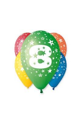 """Balony gumowe 12"""" z cyfrą 8"""