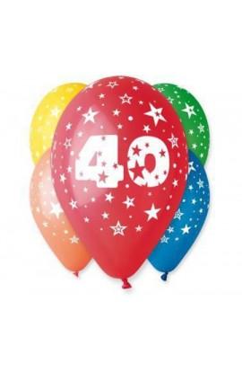 """Balony gumowe 12"""" z cyfrą 40"""