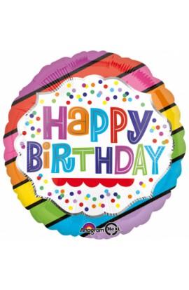 """Balon urodzinowy 18"""" HBD BRIGHT STRIPES"""