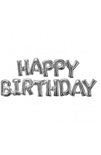 "Balon urodzionowy napis 14"" HAPPY BIRTHDAY SREBRNY"
