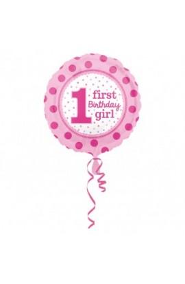 """Balon foliowy 18"""" Pierwsze urodziny dziewczynki"""