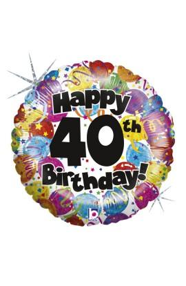 """Balon foliowy 18"""" 40-te urodziny"""
