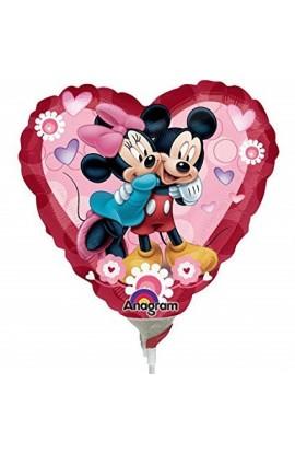 """Balon foliowy 9"""" serce z Mickey & Minnie"""