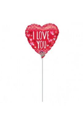 """Balon foliowy 9"""" serduszko z napisem I Love You"""