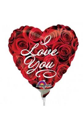 """Balon foliowy 9"""" serduszko z różami"""