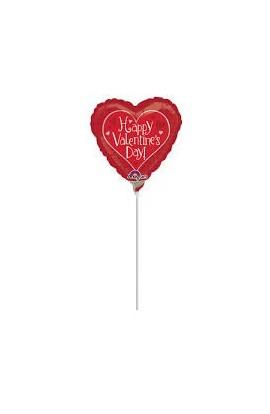 "Balon foliowy 9"" serce z napisem Happy Valentine's Day"