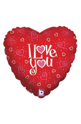 "Balon foliowy 18"" napis I Love You"