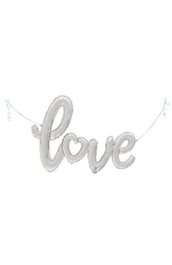 "Balon foliowy 47""/119 cm srebrny napis ""love"""