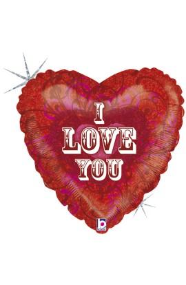 "Balon foliowy 18"" serce z napisem ""I LOVE YOU"""