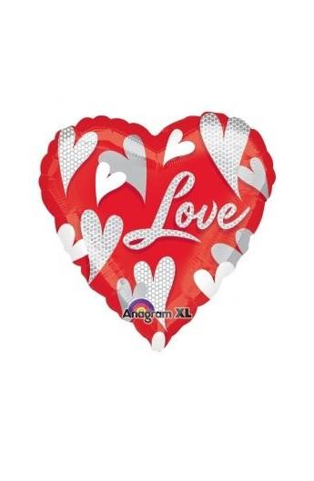 """Balon foliowy 18"""" w serca z napisem """"Love"""""""