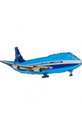 """Balon foliowy 24"""" Samolot Niebieski Grabo Transparent"""