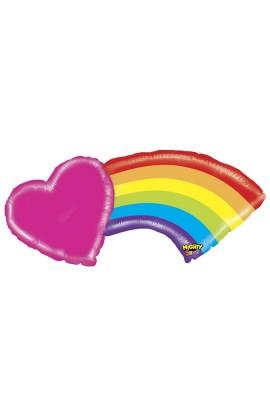 """Balon foliowy 43"""" Tęcza z sercem"""
