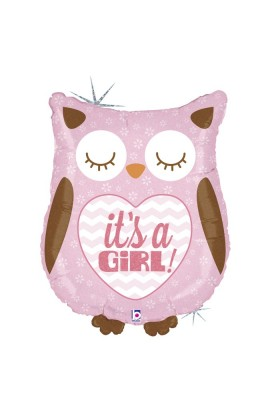 "26"" IT'S A GIRL OWL HOLOGRAPHIC"
