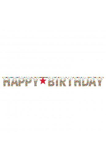 Girlanda Happy Birthday w kolorowe kropki