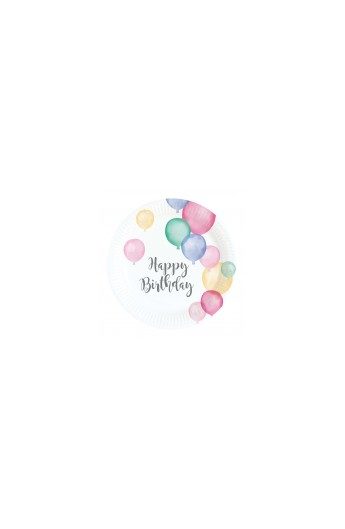 Talerzyki Happy Birthday pastelowe 8 szt.