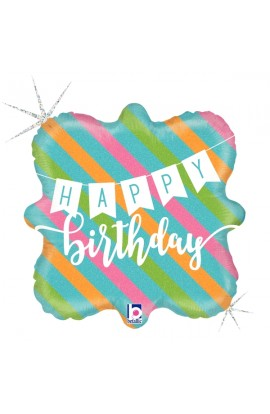 "Balon urodzinowy 18"" BIRTHDAY BANNER & STRIPES"