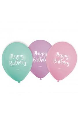 6 szt. balonów pastelowych z napisem Happy Birthday