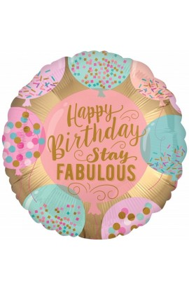 "Balon foliowy 18"" Happy  Birthday Stay Fabulous"